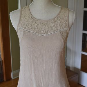 Tan Chloe K blouse with lace panels, size med